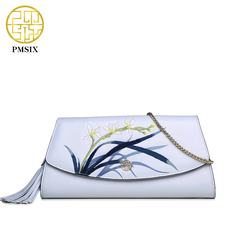 Pmsix 2017 New Women Evening Clutch Bags Cow Split Leather Handbag Fashion Chain Shoulder Flap Bag Embroidery Ethnic China Bag
