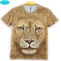 12-18 años las muchachas de la camiseta nuevo llega europa y américa del león del estilo impreso 3D camiseta de big kids summer tops estilo CT15