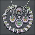New Style Rainbow Created Topaz 925 Sterling Silver Jewelry Sets For Women Earrings/Pendant/Necklace/Ring/Bracelets Free Box