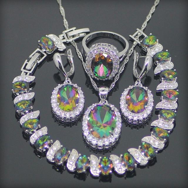 Novo Estilo Rainbow Criado Topázio Esterlina 925 Conjuntos de Jóias de Prata Para As Mulheres Brincos/Pingente/Colar/Anel/pulseiras Caixa Livre