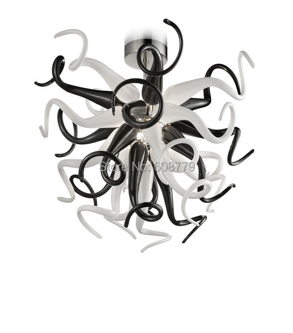 Unique Black and White Murano Glass Chandelier