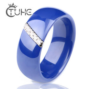 TUHE Blue Black Ceramic Rings Women Jewelry Finger Rings