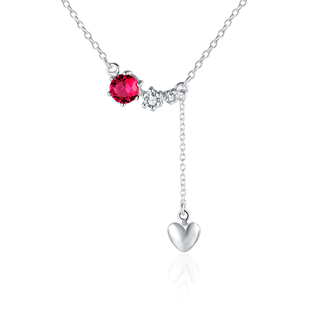 925 sterling silver jewelry three red stone crystal link cute love 925 sterling silver jewelry three red stone crystal link cute love heart pendant necklace women girls mozeypictures Images