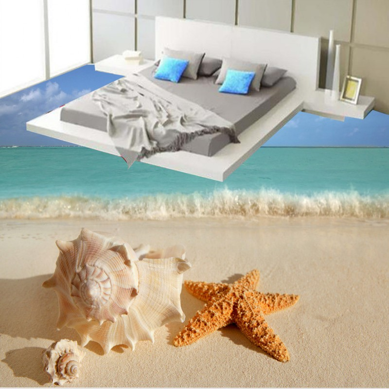 Free Shipping High-definition conch starfish beach 3D floor painting wear non-slip living room bathroom lobby flooring mural