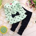 2PCS New Baby Girls Sets Fashion Heart-shaped Print Bow Cute Kids Set Long Sleeve Bowknot T shirt +Pants  Freeshipping&Wholesale