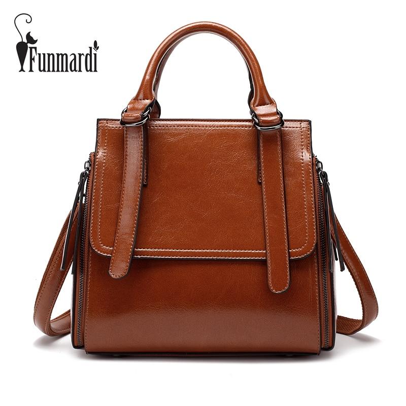 FUNMARDI Luxury Oil Wax Leather Women Handbag Brand Design Totes Bags High Quality Leather Bag New Fashion Shoulder Bag WLHB1749