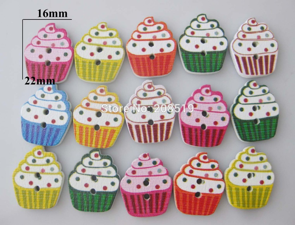 WBNSNA Mixed children Buttons Icecream shape 100pcs 2 holes sewing Button Cupcake Decorative Scrapbooking
