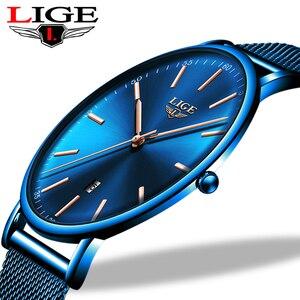 Image 1 - ליגע נשים שעונים למעלה מותג יוקרה עמיד למים שעון אופנה גבירותיי נירוסטה דק מקרית שעוני יד קוורץ שעון
