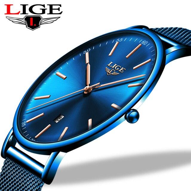 ליגע נשים שעונים למעלה מותג יוקרה עמיד למים שעון אופנה גבירותיי נירוסטה דק מקרית שעוני יד קוורץ שעון