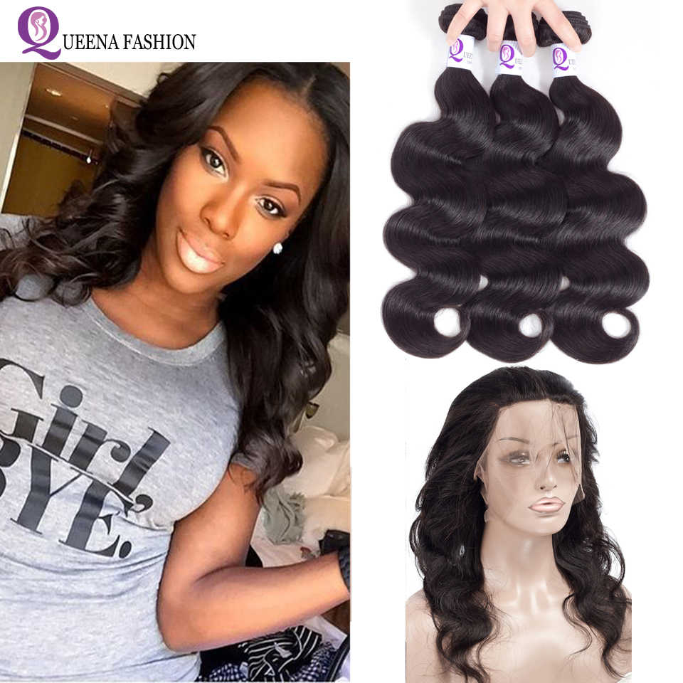 Cambodian Body Wave 360 Lace Frontal Closure With 3 Bundles 100% Human Hair Bundles With 360 Closure Baby Hair Queena Fashion