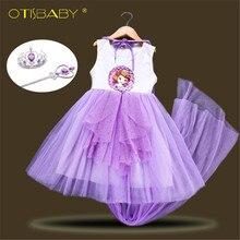 9e0529f30d7e2b3 5 слоев фатина для девочек платье принцессы Софии с длинной накидкой дети  снег белое платье часы с пайетками без рукавов для дет.