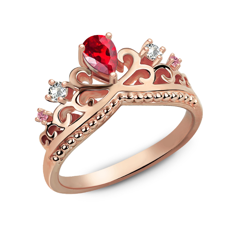 Customized Romantic Birthstones Princess Crown Ring Rose ...