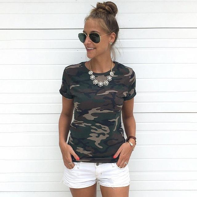 b547598ed1 Camiseta de moda mujer Blusa Tumblr estampados de camuflaje