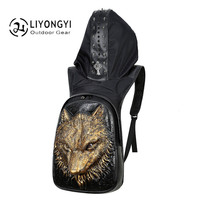 New Personality 3D Wolf PU Leather Backpack Men S Travel Bag Male Large Capacity Bag Laptop