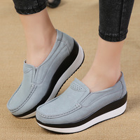 Fashion Women Flats Platform Casual Shoes Suede Leather Moccasins Loafers Slip On Soft Ladies Shoes Footwear