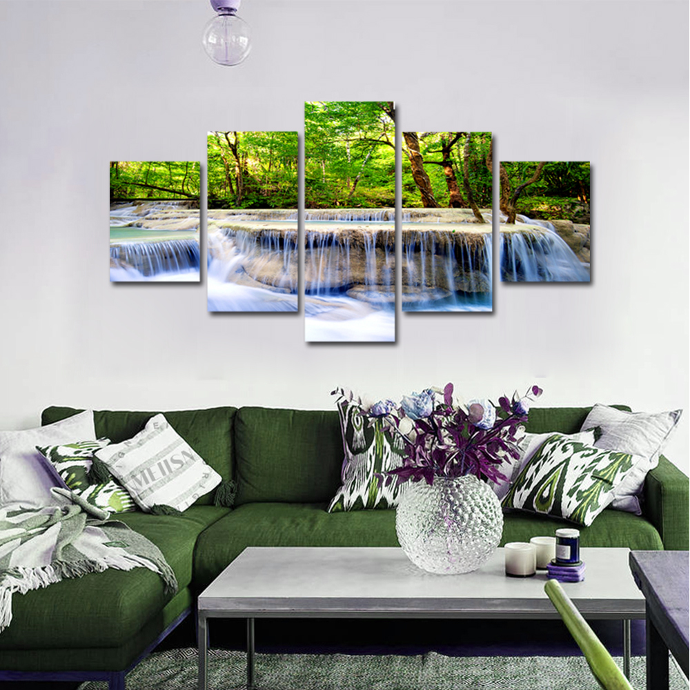 Unframed 5 panel HD Canvas Wall Art Giclee Painting Forest Creek Landscape For Living Room Home Decor Unframed
