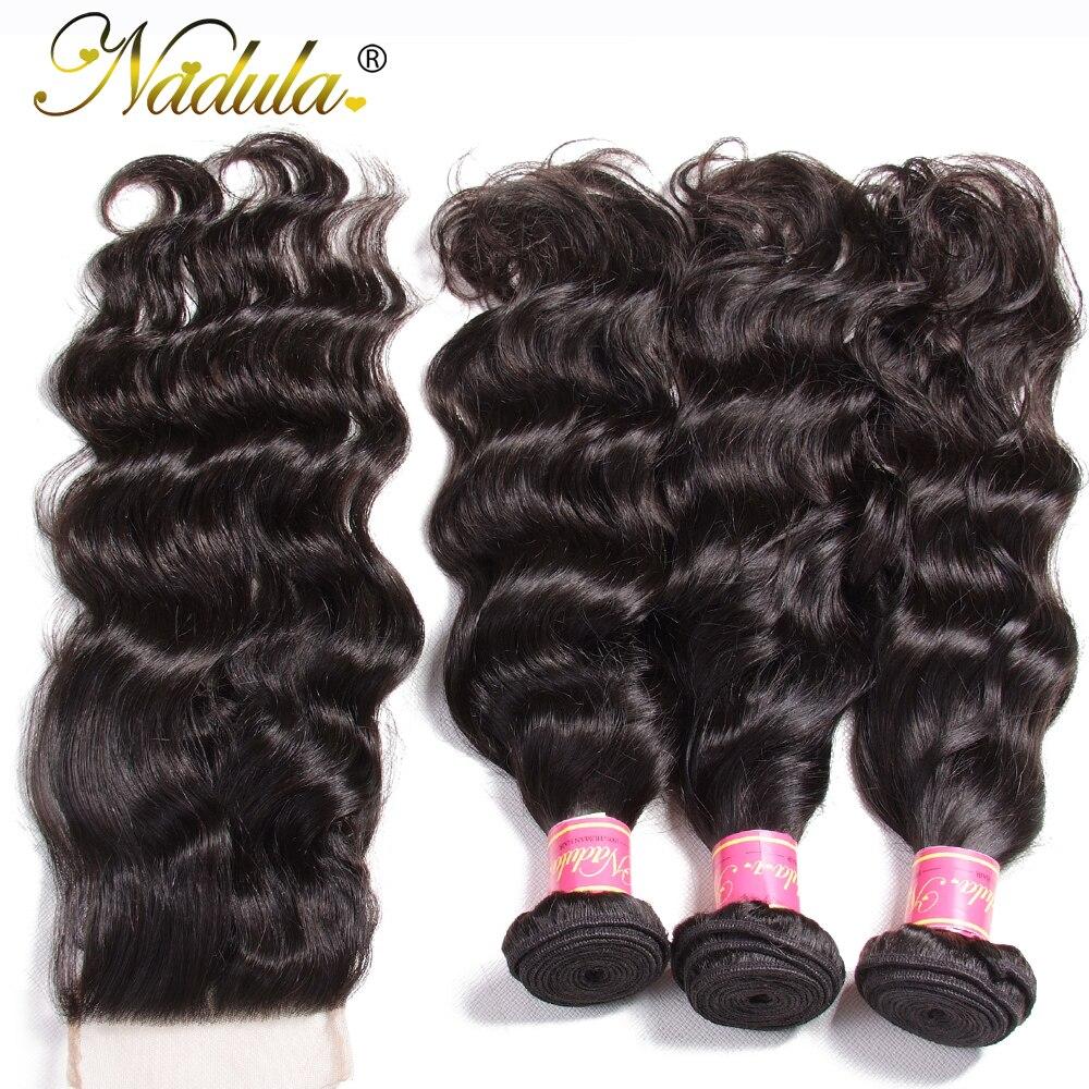 Nadula Hair 3pcs/lot  Natural Wave Closure 4*4 Free Part Lace Closure With 3 Bundles  s  5
