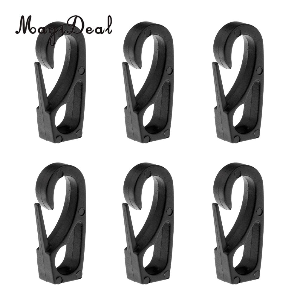 MagiDeal Universal 6Pcs/Lot 6mm Kayak Canoe Nylon Shock Cord Bungee Rope Clip Hook for Rowing Boat Paddle Board Accessory Black line art