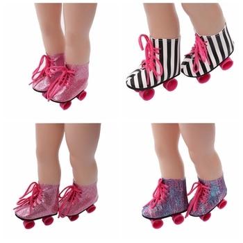 Zapatos de muñeca de 18 pulgadas con purpurina rosa/púrpura/Blanco/cebra, patines de muñeca para 18 pulgadas, accesorios de muñeca de nuestra generación