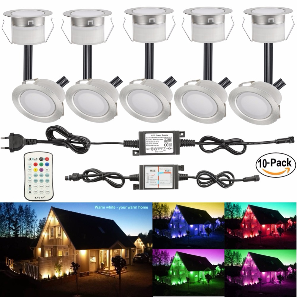 Pack of 14 RGBW RGB & Warm White LED Deck Lighting Kit Stainless Steel Waterproof Outdoor Landscape Garden Yard Patio for Brian
