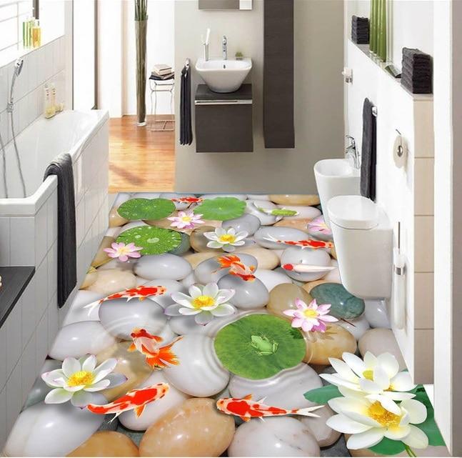 3 d pvc flooring custom wall wticker 3d bathroom flooring 3d Lotus carp pebbles painting photo wallpaper for walls 3d chinese 3d flooring for bathroom lotus pond glass tiles 3d floor painting photo wallpaper 3d pvc flooring waterproof