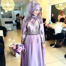 Oumeiya OWD808 A-line Chiffon Beaded Lace Appliqued Long Sleeve Hijab Muslim Colorful Wedding Dress Made in China 2017