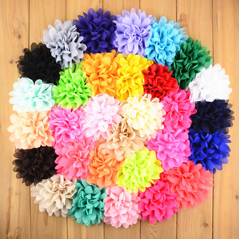 Wholesale 500pcs lot 32 Color U Pick 4 Chiffon Hair Flowers Artificial Fabric Flower DIY girls