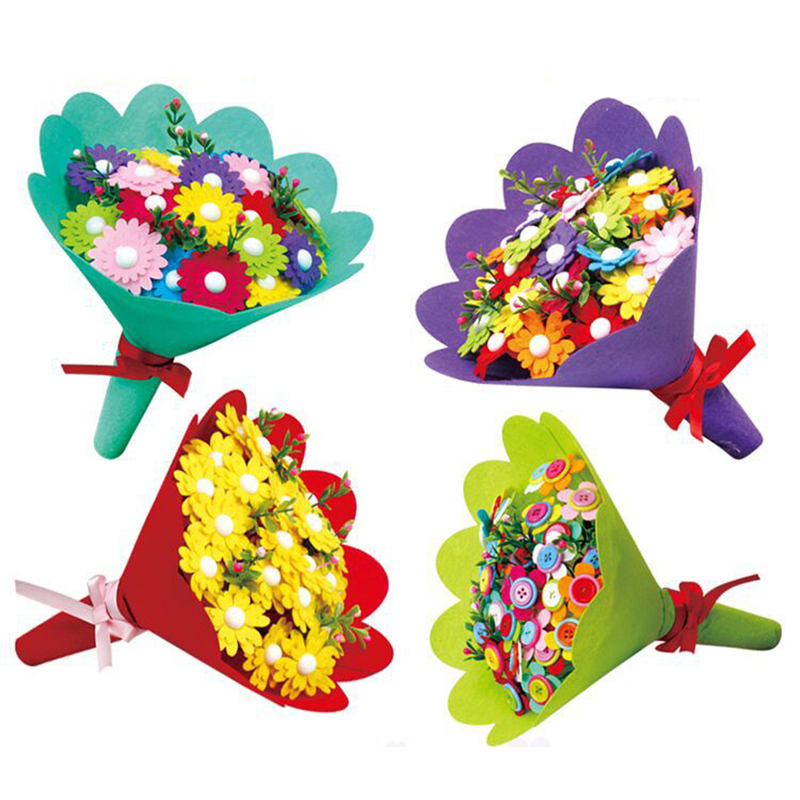 EVA Button Bouquet Children Educational Toys DIY Holding Flowers Handmade Gift Room Decoration Flower Craft Kits Creative Toys