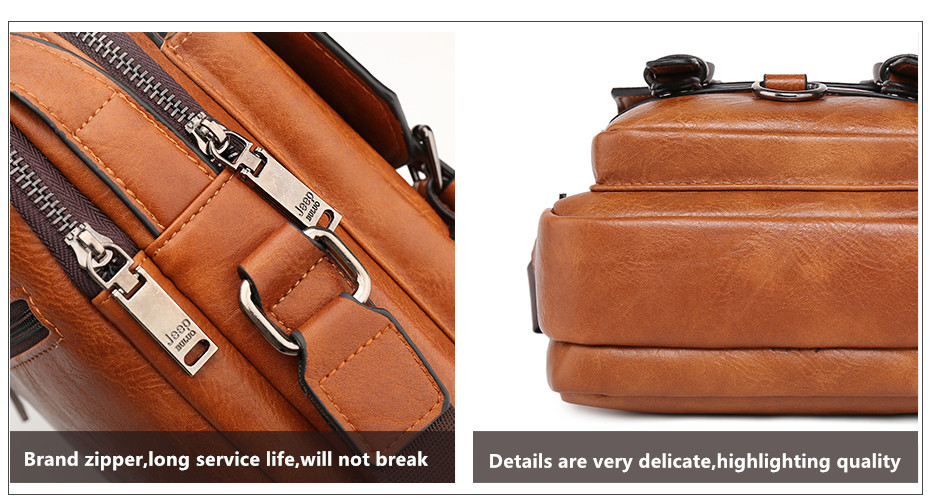 JEEP BULUO Multi-function Men Handbags New Man's Crossbody Shoulder Bag Large Capacity Leather Messenger Bag For Man Travel Cool 12