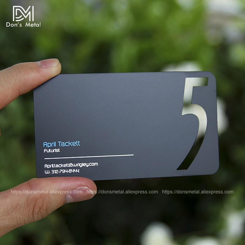 Personality Cutout  And Printing Color Quality Cataphoresis Black Stainless Steel Business Card