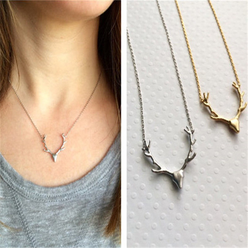 2018 New Fashion Deer Horn Antler Necklace Jewelry Simple Elegant Horn Necklace Antler Tiny Cute Pendant Necklace For Women
