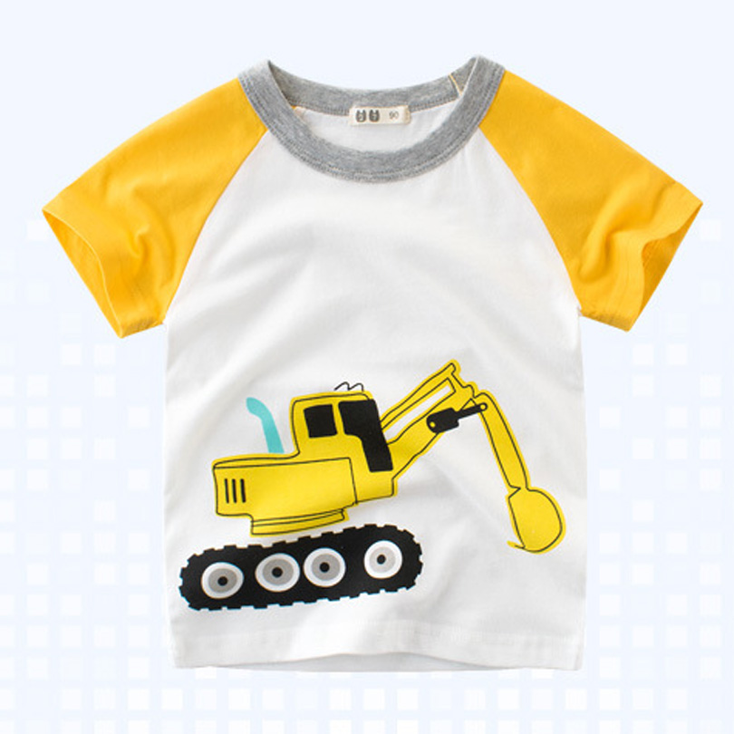 Купить с кэшбэком 2020 Brand Summer Top Baby Boy T Shirt Excavator Embroidery Gray Short Sleeve Boys T Shirt Pure Cotton Kids Clothes 2-9Y