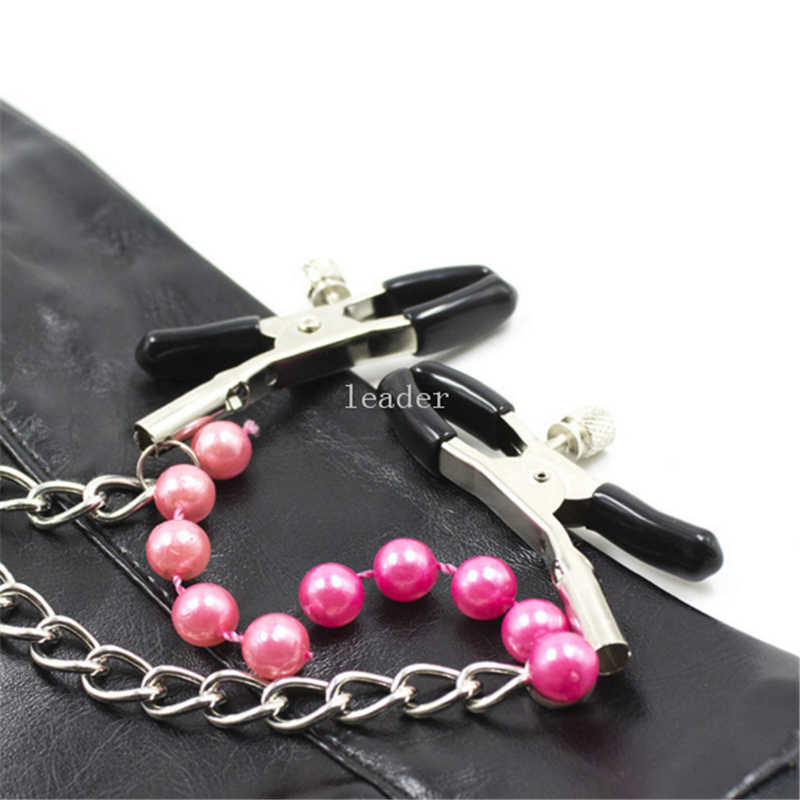 5pcs/lot Stainless Steel Chain Nipple Clamp with Romantic Bead Pendant Flirting Adult Games Sex Toys for Women