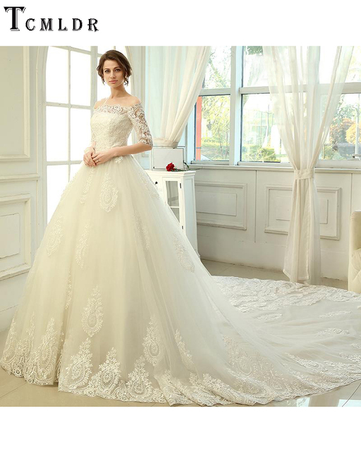 Tumblr Luxury A Line Royal Train Appliques Wedding Dress 2016 Autumn ...