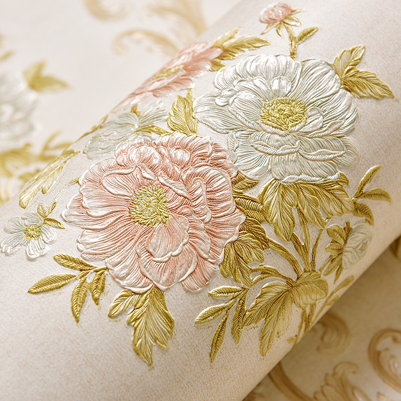 Pastoral Non-woven Fabric Floral Wallpaper For Bedroom Walls 3D Stereoscopic Relief Flower Wall Papers Home Decor Living Room TV rustic wallpaper 3d stereoscopic wallpaper roll non woven pastoral wallpaper for walls bedroom wall paper pink for living room
