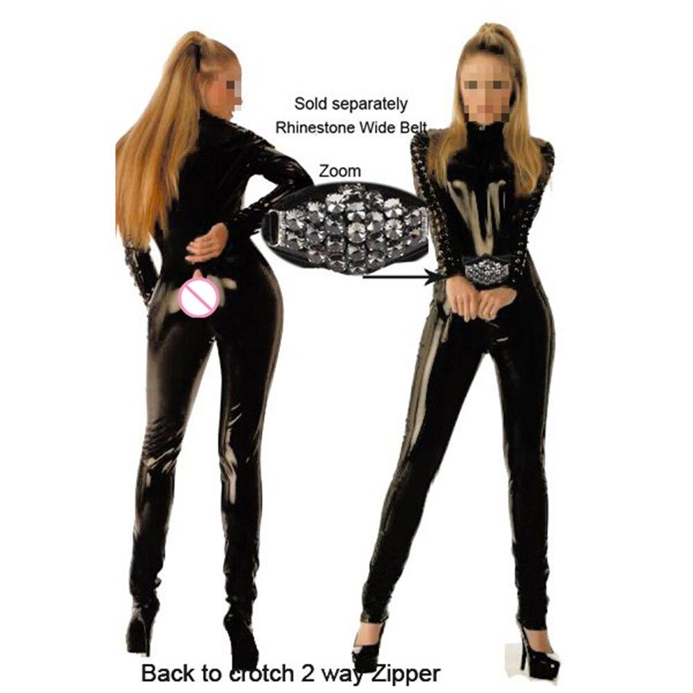 Интересно, красота черный комбинезон vinly Искусственная кожа Playsuit Женщины Комбинезон экзотические Клубная одежда пикантная открытая промеж...