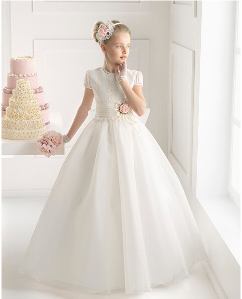Cheap Baby   Flower     Girls     Dresses   Short Sleeve Zipper Floor Length Organza Ball Gown   Flower   Custom Made Little   Girls   Gowns