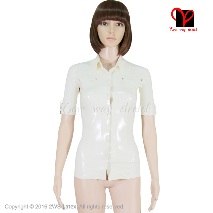 Sexy White Latex font b shirt b font Rubber Coat Catsuit jacket Gummi Uniform Dress Tee