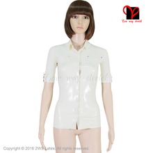 Sexy White Latex shirt Rubber Coat Catsuit jacket Gummi Uniform Tee T Top short sleeve collar