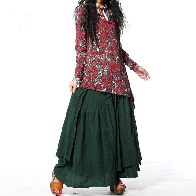 2017 Nuevo Verano Retro Vintage Étnico Elegante Faldas Floral Bordado Hem Oscilación Asimétrica Boho Algodón Verde Falda saia