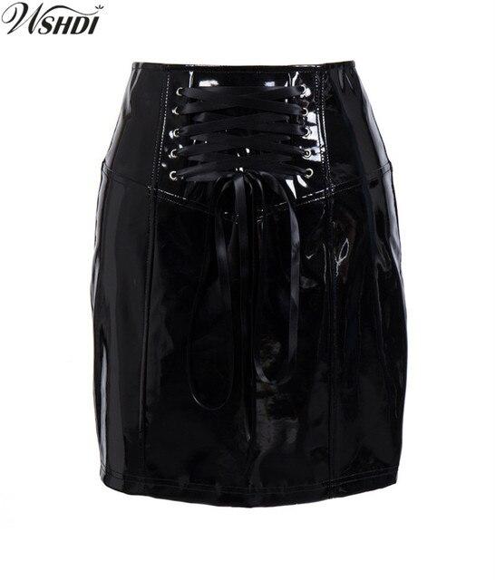4535d3e36 S-XXL New Sexy Mulheres de Slim Saia de Cintura Alta Em Linha Reta Preto