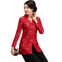 V Neck Thick Floral Chinese Classic Women Long Shirt Winter Plus Velvet Blouse Lace Handmade Button