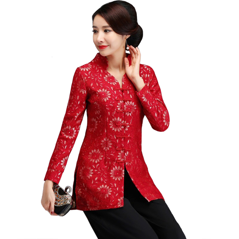 V Neck Thick Floral Chinese Classic Women Long Shirt ...