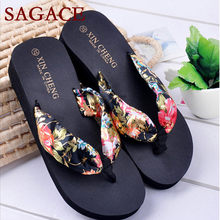 Bohemia Floral Beach Sandals Wedge Platform Thongs Slippers Flip Flops p# dopship(China)