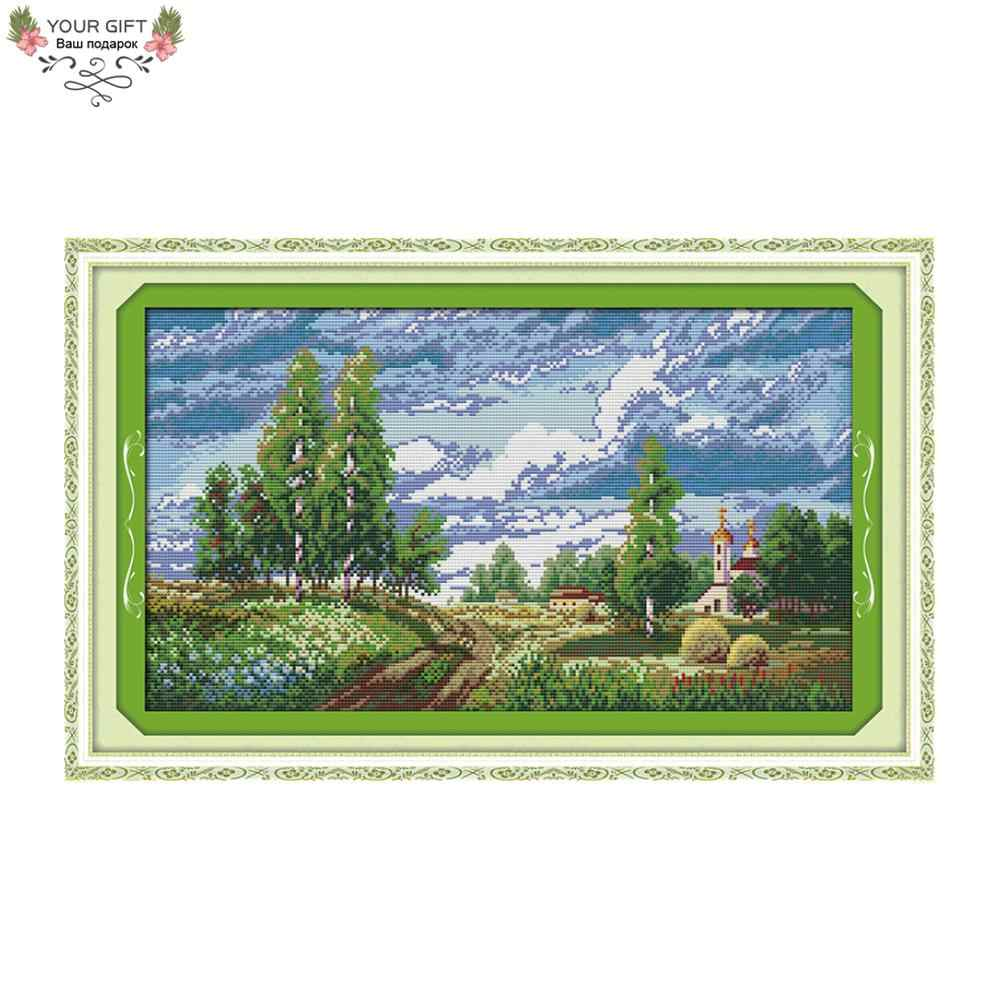 Your Gift F326 14CT 11CT Counted and Stamped Home Decor The Spring Field Needlework Needlecraft Embroidery Cross Stitch kits