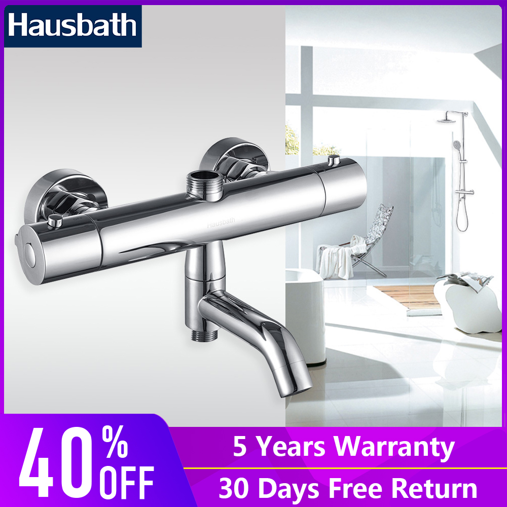 Bathroom Shower Faucet Thermostatic Mixing Valve Temperature Control Chrome Brass Bathtub Tap Dual Hole vagsure brass thermostatic pipe mixing valve bathroom shower faucet tap ceramic temperature mixer control valve home improvement
