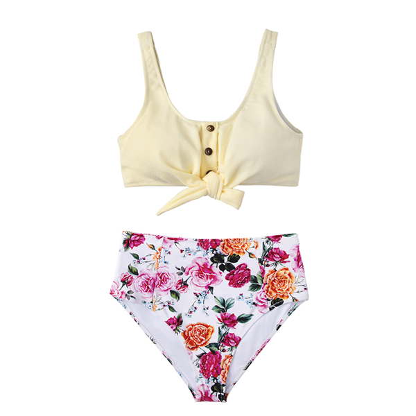 CUPSHE Solid Tie-Front Tank And Floral High-Waisted Bikini Sets 2019 Women Boho Button Two Pieces Swimsuits