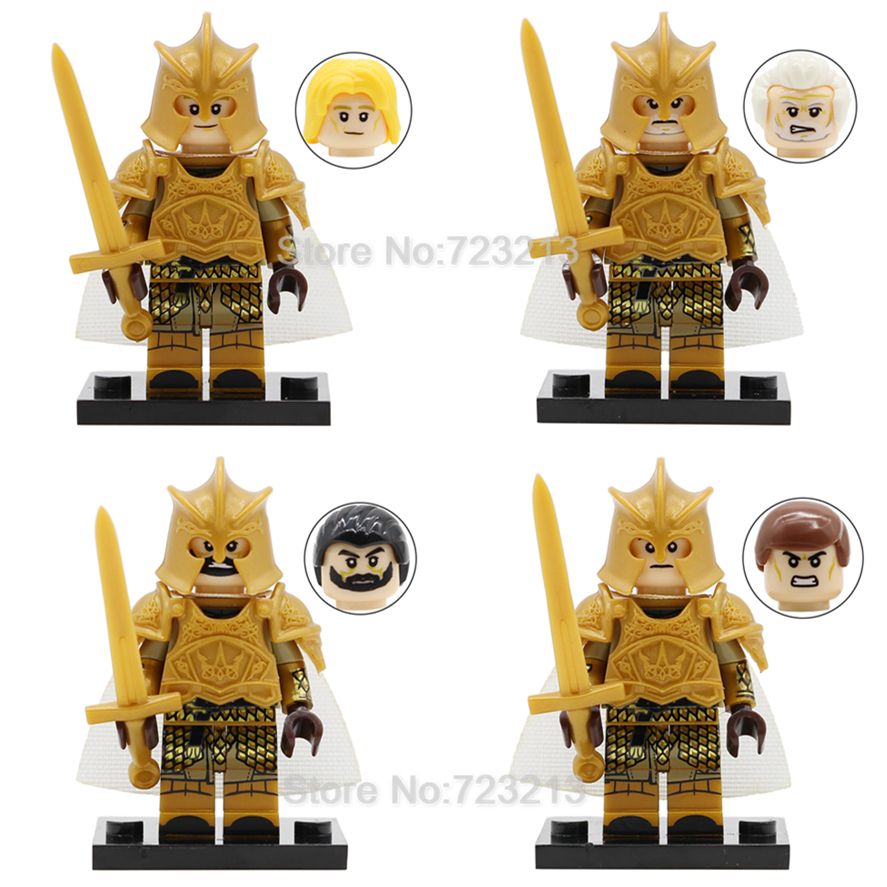 4pcs/set Game of Thrones Figure Set with Armor Stark Lannister Baratheon Targaryen Model Building Blocks Kits Brick Toys ...