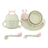 6Pcs Animal Snail Baby Plate Bowl Cup Tableware Dinnerware Feeding Set Baby Children Kids Feeder Assiette De Bebe