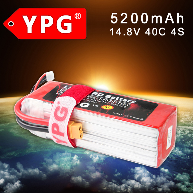 YPG 14.8V <font><b>5200mah</b></font> 40C <font><b>4S</b></font> battery <font><b>Lipo</b></font> Li-Po Battery 5C charging suppot For RC Airplanes boats Cars Quadcopters rc car parts image